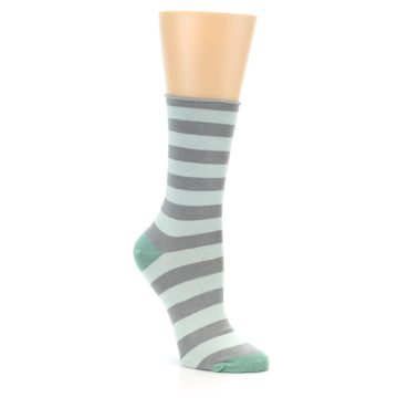 Image of Grey Light Blue Stripe Women's Bamboo Dress Socks (side-1-27)