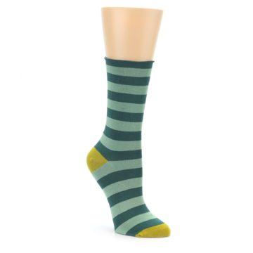 Women's Bamboo Green Stripe Socks