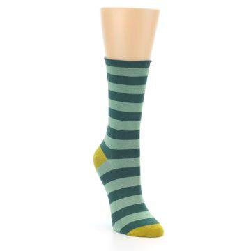 Image of Greens Stripe Women's Bamboo Dress Socks (side-1-front-02)