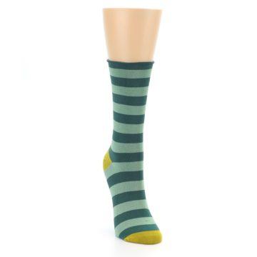 Image of Greens Stripe Women's Bamboo Dress Socks (side-1-front-03)