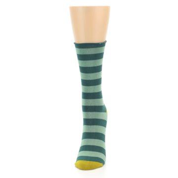 Image of Greens Stripe Women's Bamboo Dress Socks (side-2-front-06)