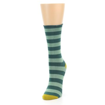 Image of Greens Stripe Women's Bamboo Dress Socks (side-2-front-07)