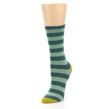 Image of Greens Stripe Women's Bamboo Dress Socks (side-2-front-08)