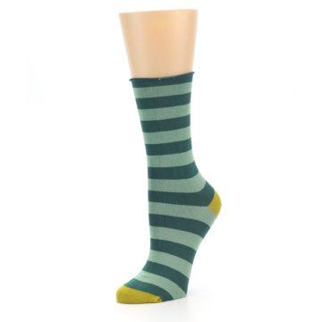 Image of Greens Stripe Women's Bamboo Dress Socks (side-2-09)