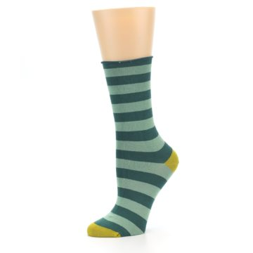 Image of Greens Stripe Women's Bamboo Dress Socks (side-2-10)