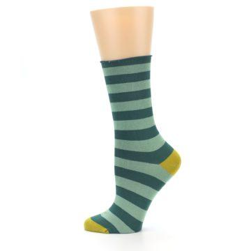 Image of Greens Stripe Women's Bamboo Dress Socks (side-2-12)
