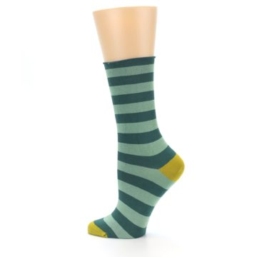 Image of Greens Stripe Women's Bamboo Dress Socks (side-2-13)
