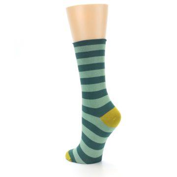 Image of Greens Stripe Women's Bamboo Dress Socks (side-2-back-15)