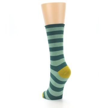 Image of Greens Stripe Women's Bamboo Dress Socks (side-2-back-16)