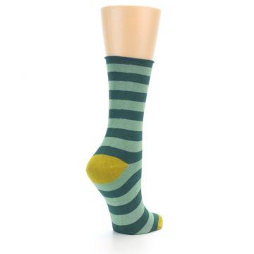 Image of Greens Stripe Women's Bamboo Dress Socks (side-1-back-22)