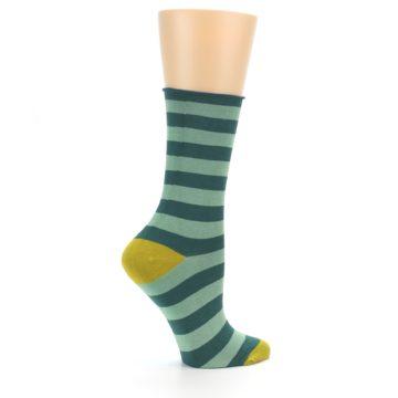 Image of Greens Stripe Women's Bamboo Dress Socks (side-1-24)
