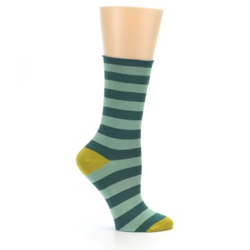 Image of Greens Stripe Women's Bamboo Dress Socks (side-1-25)