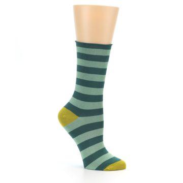 Image of Greens Stripe Women's Bamboo Dress Socks (side-1-26)