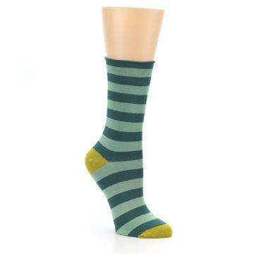 Image of Greens Stripe Women's Bamboo Dress Socks (side-1-27)