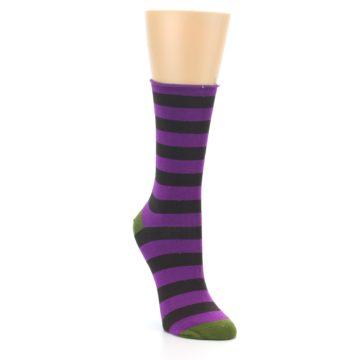 Image of Orchid Purple Stripe Women's Bamboo Dress Socks (side-1-front-02)