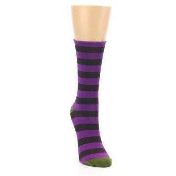 Image of Orchid Purple Stripe Women's Bamboo Dress Socks (side-1-front-03)