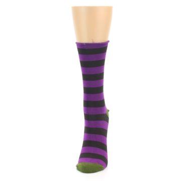 Image of Orchid Purple Stripe Women's Bamboo Dress Socks (side-2-front-06)