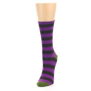 Image of Orchid Purple Stripe Women's Bamboo Dress Socks (side-2-front-07)