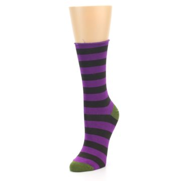 Image of Orchid Purple Stripe Women's Bamboo Dress Socks (side-2-front-08)