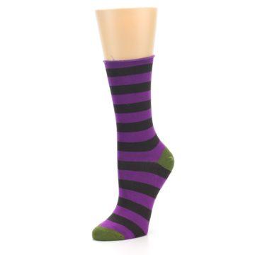 Image of Orchid Purple Stripe Women's Bamboo Dress Socks (side-2-09)