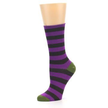 Image of Orchid Purple Stripe Women's Bamboo Dress Socks (side-2-10)