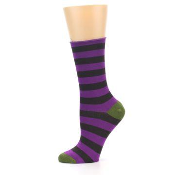 Image of Orchid Purple Stripe Women's Bamboo Dress Socks (side-2-11)