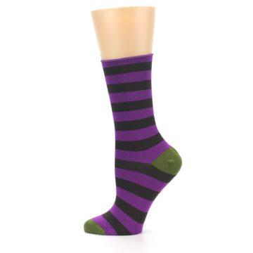 Image of Orchid Purple Stripe Women's Bamboo Dress Socks (side-2-12)