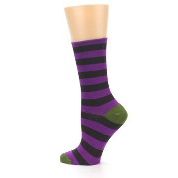 Image of Orchid Purple Stripe Women's Bamboo Dress Socks (side-2-13)