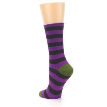 Image of Orchid Purple Stripe Women's Bamboo Dress Socks (side-2-back-15)