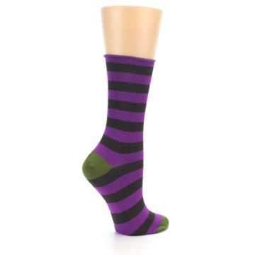 Image of Orchid Purple Stripe Women's Bamboo Dress Socks (side-1-23)