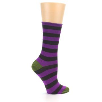 Image of Orchid Purple Stripe Women's Bamboo Dress Socks (side-1-24)