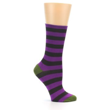 Image of Orchid Purple Stripe Women's Bamboo Dress Socks (side-1-25)