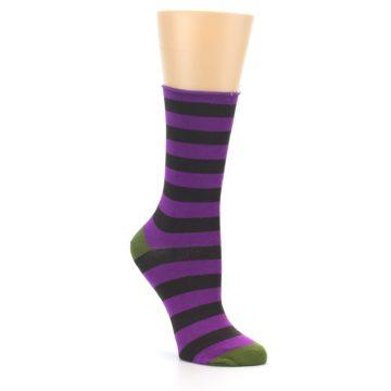 Image of Orchid Purple Stripe Women's Bamboo Dress Socks (side-1-27)