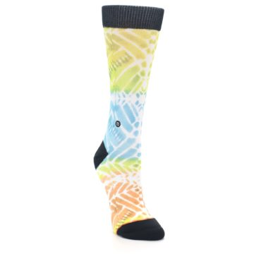 Image of Blue Yellow Orange Pattern Women's Casual Socks (side-1-front-02)