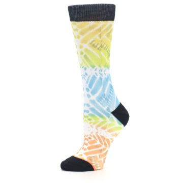 Image of Blue Yellow Orange Pattern Women's Casual Socks (side-2-10)