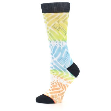 Image of Blue Yellow Orange Pattern Women's Casual Socks (side-2-11)