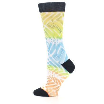 Image of Blue Yellow Orange Pattern Women's Casual Socks (side-2-12)