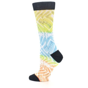 Image of Blue Yellow Orange Pattern Women's Casual Socks (side-2-13)