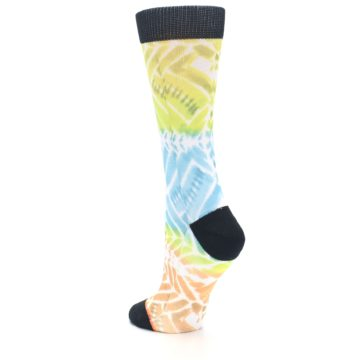 Image of Blue Yellow Orange Pattern Women's Casual Socks (side-2-back-15)