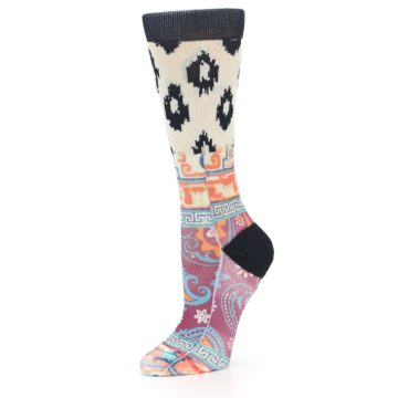 Image of Multi Eastern Paisley Women's Casual Socks (side-2-09)
