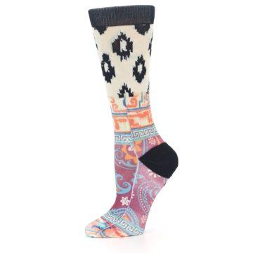 Image of Multi Eastern Paisley Women's Casual Socks (side-2-10)