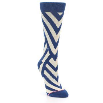 Image of Blue Beige Angle Stripe Women's Casual Socks (side-1-front-02)