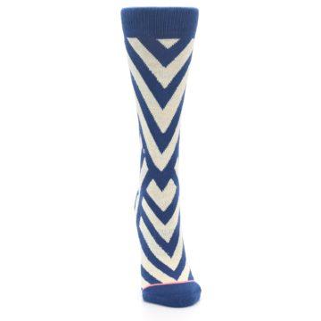 Image of Blue Beige Angle Stripe Women's Casual Socks (front-04)