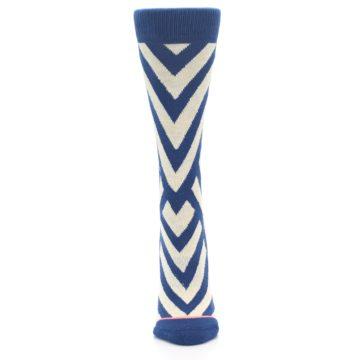 Image of Blue Beige Angle Stripe Women's Casual Socks (front-05)