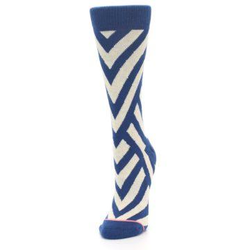 Image of Blue Beige Angle Stripe Women's Casual Socks (side-2-front-07)