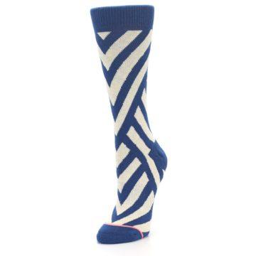 Image of Blue Beige Angle Stripe Women's Casual Socks (side-2-front-08)