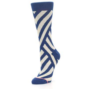 Image of Blue Beige Angle Stripe Women's Casual Socks (side-2-09)