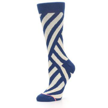 Image of Blue Beige Angle Stripe Women's Casual Socks (side-2-10)
