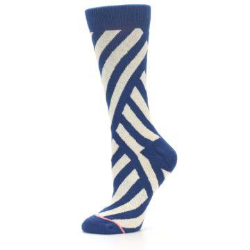 Image of Blue Beige Angle Stripe Women's Casual Socks (side-2-11)