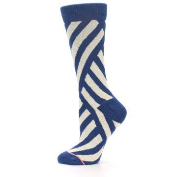 Image of Blue Beige Angle Stripe Women's Casual Socks (side-2-12)